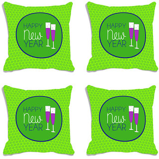 meSleep Happy New Year Cheers Digitally Printed Cushion Cover (16X16) - Set of 4