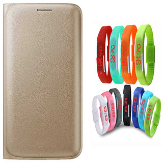 Snaptic Limited Edition Golden Leather Flip Cover for Redmi 3S Prime with Waterproof LED Watch