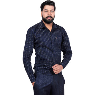 LONDON LOOKS Men's CASUAL PAPER COTTON Poly-Cotton Shirt