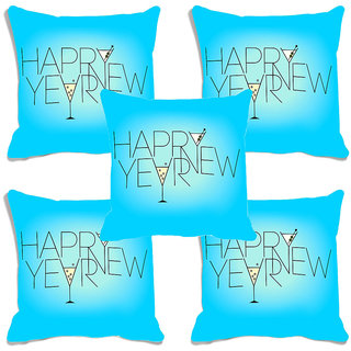 meSleep Happy New Year Blue Digitally Printed Cushion Cover (16x16) - Set of 5