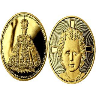 ' Infant Jesus of Prague ' Rare Czech Mint 24kt Gold Holy Christian Eucharist  Cross Deep Cameo Art Vatican Medal/Coin