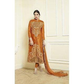Thankar Dark Orange  Cream Embroidered Jama Glace Cotton Straight Suit