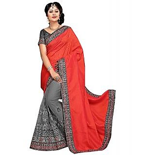 SuratTex Green & Red Net Embroidered Saree With Blouse