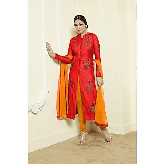Thankar Orange  Red Embroidered Glace Cotton Straight Suit