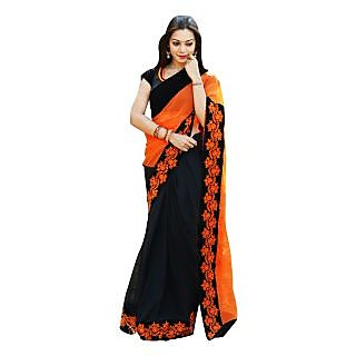 Chhabra 555 Orange Georgette Embroidered Saree With Blouse