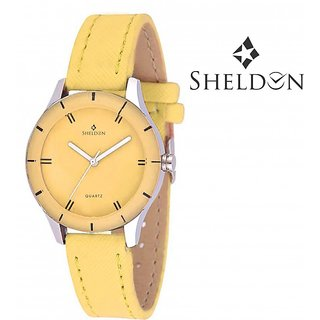 Sheldon Yellow leather Analog Watch for Women