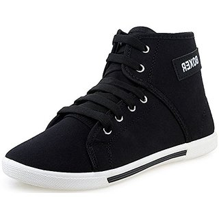 Chevit Men's Black Lace up Sneakers