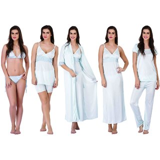 48c9a0d82d Buy Claura Women s Satin Pack of 6 pc Night Dress in Sky blue Color Online  - Get 67% Off