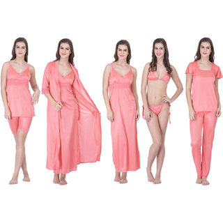 Claura Women's Satin Pack of 8 pc Night Dress in Peach Color
