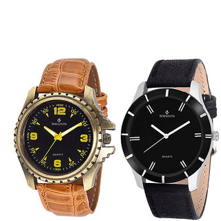 Sheldon Brown Leather Analog Watch For Men Pack Of 2