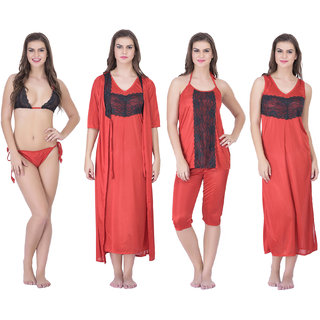 e5022e1a1c Buy Claura Women s Satin Pack of 6 pc Night Dress in Red Online ...