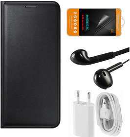 Snaptic Black Leather Flip Cover with Tempered Glass Noise Cancellation Earphones and USB Charger for Coolpad Max