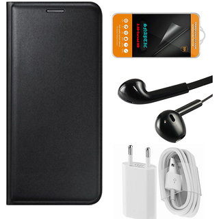 Snaptic Black Leather Flip Cover with Tempered Glass Noise Cancellation Earphones and USB Charger for Asus Zenfone Go 50