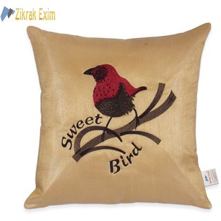 Sweet Bird Embroidery Beige Cushion Cover 1 Pc (40X40 Cms)