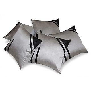 Classical Design Silver & Black Cushion Cover 5 Pcs Set 40 X 40 Cms