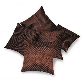Veticle Design Brown Cushion Cover 5 Pcs Set 40 X 40 Cms