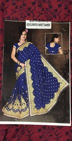 none Blue Brocade Embroidered Saree With Blouse