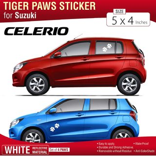 Tiger Paw Decal Set White Reflective for Suzuki Celerioo set of 4 Stickers