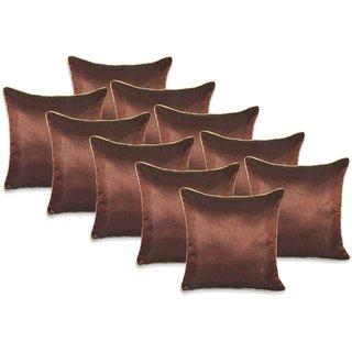 Brown Plain Dori Cushion Covers 40X40 Cms Set Of 10