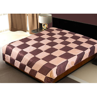 Patch Work Beige N Brown Double Quilt (250X230 Cms)