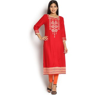 Soch Red Embroidery Kurti