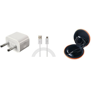 COMBO of Wall Charger & Handsfree for Celkon C52 by JIYANSHI