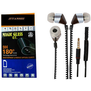COMBO of Tempered Glass & Chain Handsfree (Black) for Micromax Canvas Nitro A310 by JIYANSHI