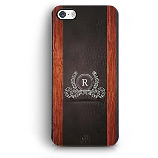 YuBingo Monogram with Beautifully Written Wooden and Leather (Plastic) Finish letter R Designer Mobile Case Back Cover for Apple iPhone 5 / 5S / SE
