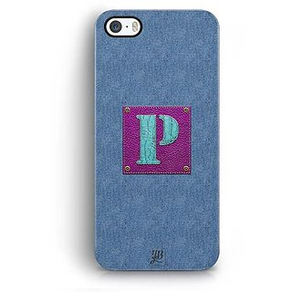 YuBingo Monogram with Beautifully Written Jeans and Girly Leather Finish letter P Designer Mobile Case Back Cover for Apple iPhone 5 / 5S / SE