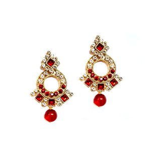 Fashionable Red  Golden Drop Earrings for women  girls By shrungarika ( e-392 )