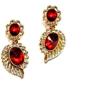 Fashionable Red  golden Drop earrings for women  Girls By shrungarika