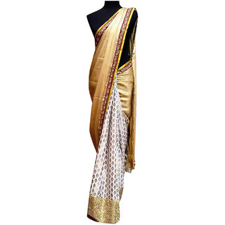 SuratTex Beige & White Chiffon Embroidered Saree With Blouse