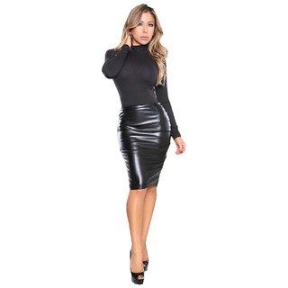 Black Plain Pencil Skirt for Women
