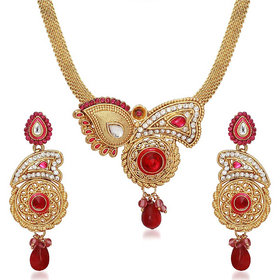 Kriaa by JewelMaze Zinc Alloy Gold Plated Pink Austrian Stone Necklace Set-AAA0667