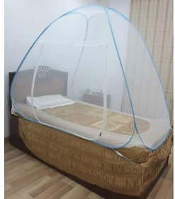 Single Bed Premium Quality Pop UP Folding Mosquito Net White -276 holes /Sq Inch