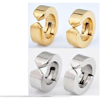 NEW Non Piercing Stainless Steel Mens Womens clip on Huggie Hoop Earrings COMBO CODEcw-9818