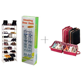 10 Layer Portable Amazing Shoe Rack With Shoe Tote (20 to 25 pairs)