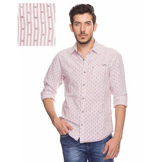 Mufti Red Spread Collar Full sleeves Casual Shirt For Men