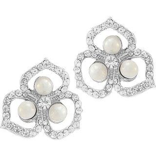 5ba9e7911 Buy Kriaa by JewelMaze Zinc Alloy Silver Plated White Austrian Stone Pearl Stud  Earrings-AAA1139 Online - Get 56% Off