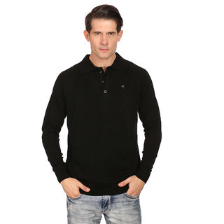 Neva Black Round Neck Long Sleeve Pullover For Men