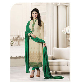 Thankar Cream  Green Embroidered Georgette Straight Suit