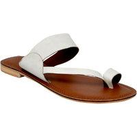 Suri Leather White Cutout Women Flat (SU0020-White)