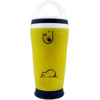 Tuelip Yellow Polypropylene Hot and Cold Vacuum Mugs and Shaker Bottle - 300 Ml