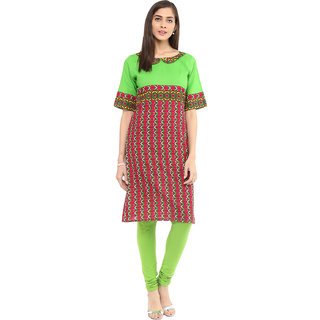 Rangeelo Rajasthan Printed Women's Short A-line Cotton Kurta(RR014GREEN)