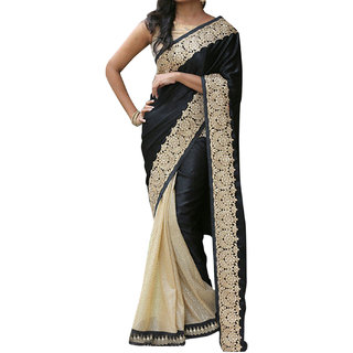SuratTex Black & Cream Georgette Embroidered Saree With Blouse