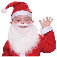 Santa Christmas Cap and Beard for Kids - Pack of 2