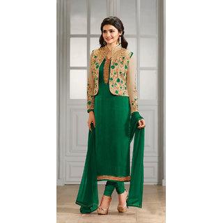 Thankar Green  Cream Embroidered Satin Georgette Straight Suit