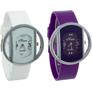 Glory Combo of Two Kawa Circular Silver Case Watches by  Savan Retails