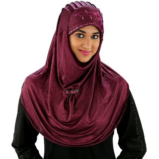 Aaima107 Magenta Polyester Stretchable Hijab