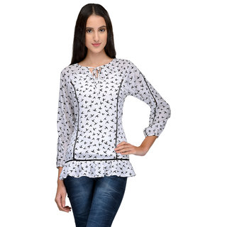 Tunic Nation Women's Printed V-Neck Poly Crepe Top
